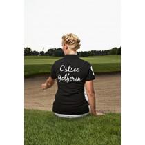 Damen Golf Polo Shirt Ostsee Golferin SCHWARZ