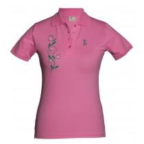 Damen Golf Polo Shirt Floral Golfball Ranke ROSA