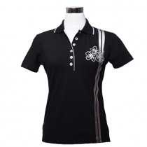 Damen Golf Polo Shirt Bloom schwarz