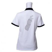Damen Golf Polo Shirt Golf Bag weiss schwarz
