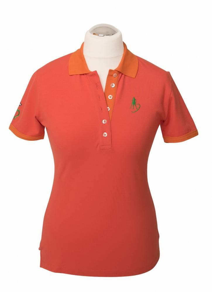 damen golf polo shirt meet me on the fairway hellrot blau. Black Bedroom Furniture Sets. Home Design Ideas
