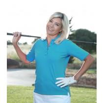 Damen Polo Shirt Loggy Halbarm türkis