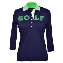 Brittigan Damen Golf Polo Shirt GOLF navy Dreiviertelarm