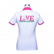 Damen Polo Love weiss pink
