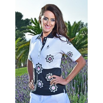Damen Polo Mia Floral schwarz weiss